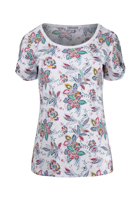 Women's Floral Split Sleeve Tee