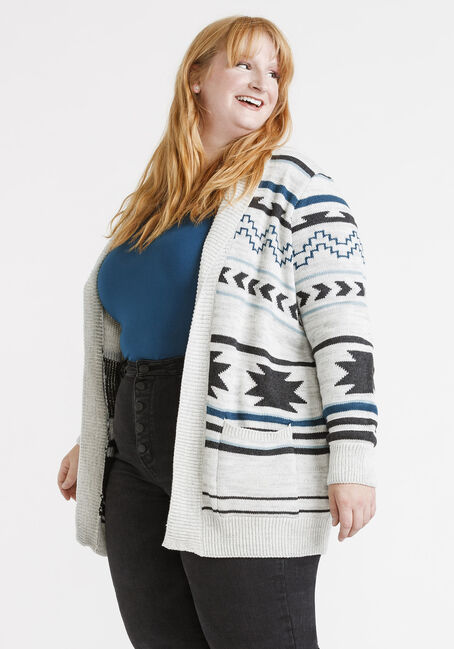 Women's Aztec Pattern Cardigan, MULTI, hi-res