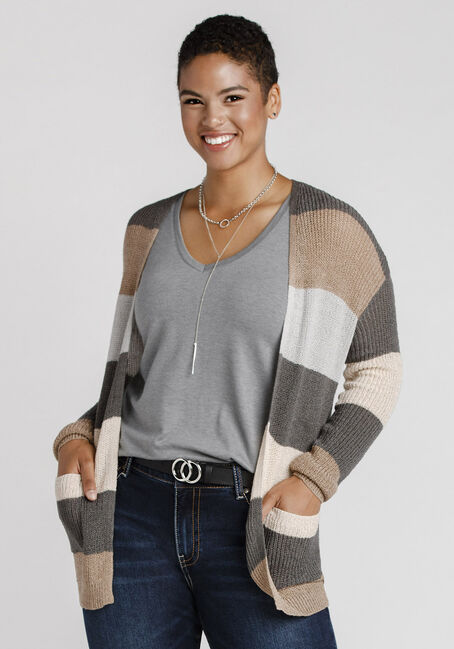 Women's Striped Cardigan, MULTI, hi-res