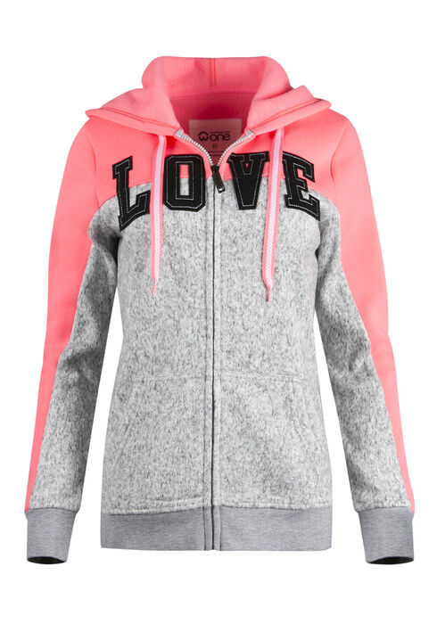 Ladies' Love Patch Hoodie, HEATHER GREY, hi-res
