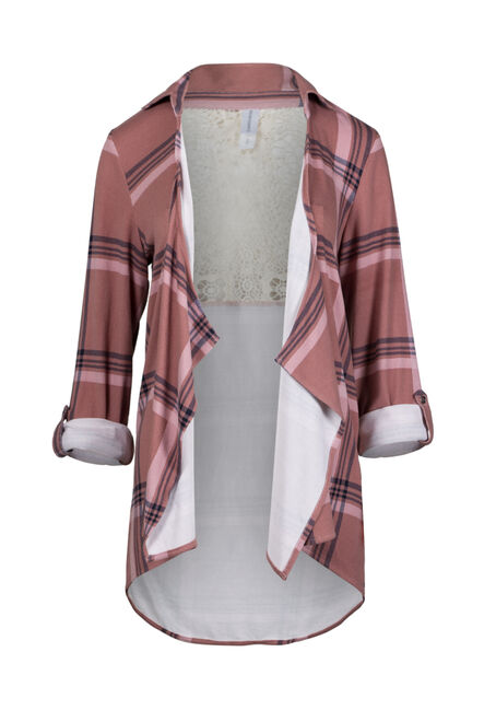 Women's Knit Plaid Cardigan