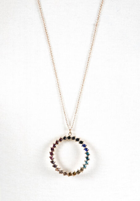 Ladies' Multi Coloured O Necklace, GOLD, hi-res