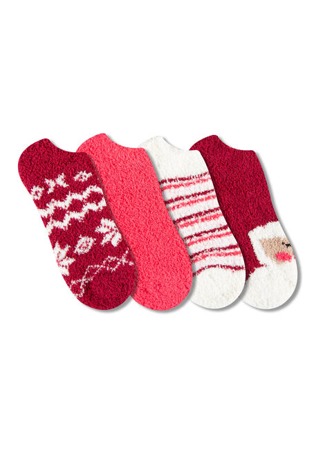 Women's 4 Pair Plush Santa Socks