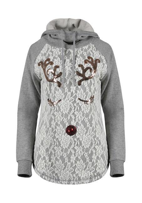 Ladies' Lace Reindeer Hoodie