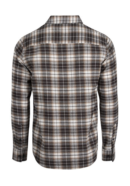 Men's Relaxed Flannel Plaid Shirt, NATURAL, hi-res