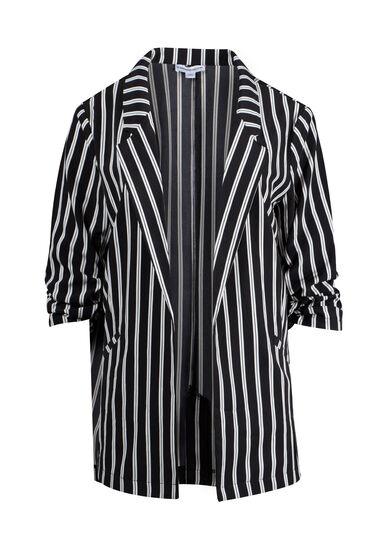 Women's Striped Blazer, BLACK, hi-res