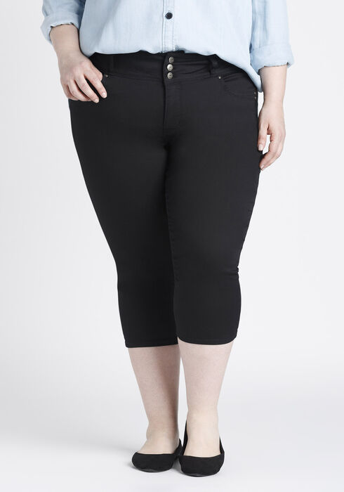Ladies' Plus Size Skinny Capri, BLACK, hi-res