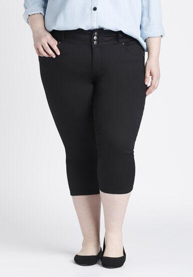 Women's Plus Size Skinny Capri, BLACK, hi-res