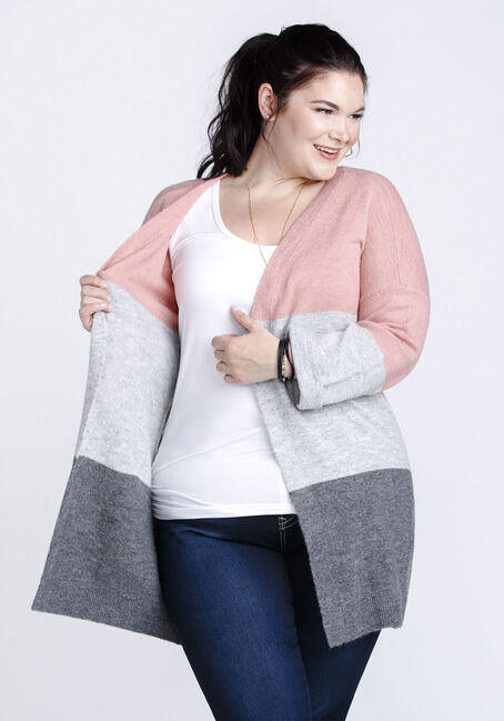 Women's Colour Block Cardigan, DUSTY PINK, hi-res