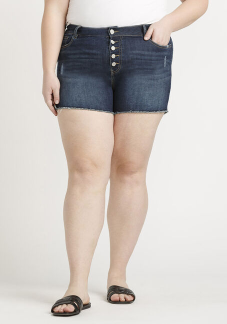 Women's Plus High Rise Exposed Button Fly Frayed Hem Short