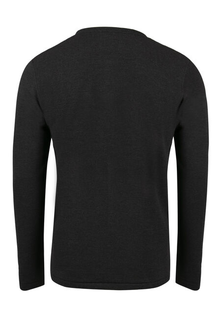 Men's Rib Knit Henley Top, BLACK, hi-res
