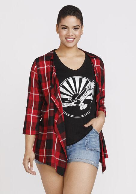 Women's Plaid Cardigan, RED/BLACK, hi-res