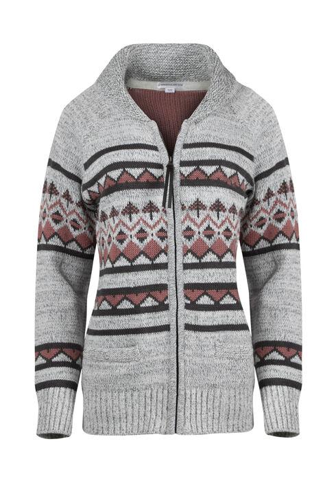 Ladies' Zip Front Nordic Cardigan, LIGHT GREY, hi-res