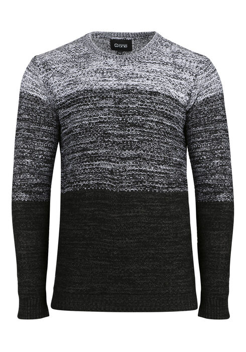Men's Ombre Sweater, BLK/WHT, hi-res