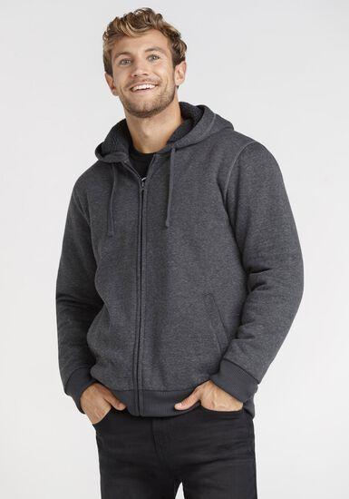 Men's Fur Lined Zip Front Hoodie, CHARCOAL, hi-res