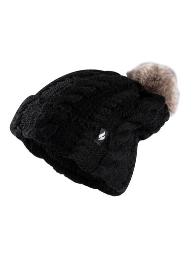 Women's Thermal Pom Pom Hat, BLACK, hi-res