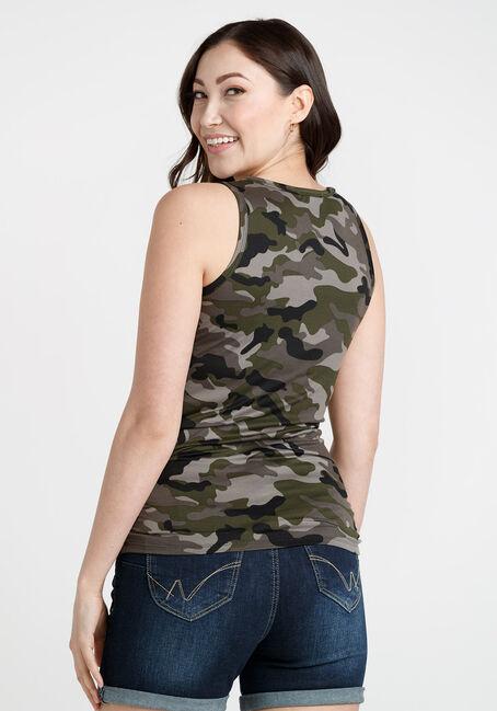Women's Camo Ruched Tank, MOSS, hi-res