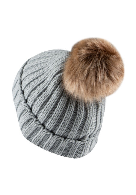 Women's Oversized Pom Hat, LIGHT GREY, hi-res