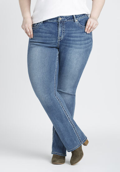 Women's Plus Size Vintage Wash Baby Boot Jeans, MEDIUM WASH, hi-res