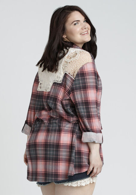 Ladies' Knit Plaid Cardigan, TOUCAN, hi-res