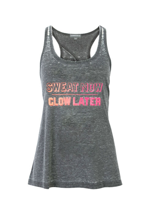Ladies' Sweat Now Burnout Tank, BLACK, hi-res