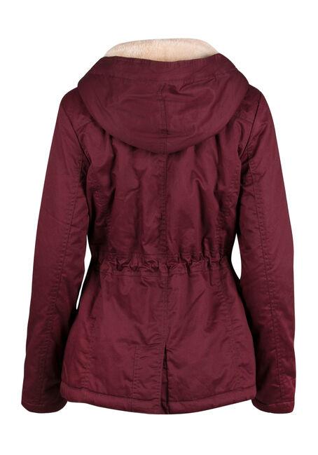 Ladies' Hooded Anorak Jacket, BURGUNDY, hi-res