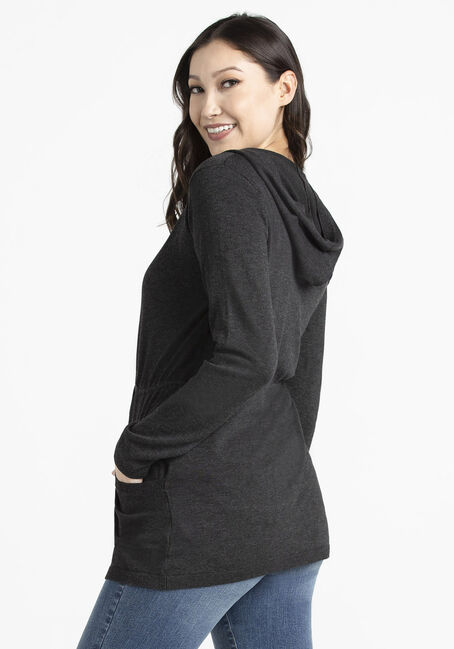 Women's Hooded Cardigan, CHARCOAL, hi-res