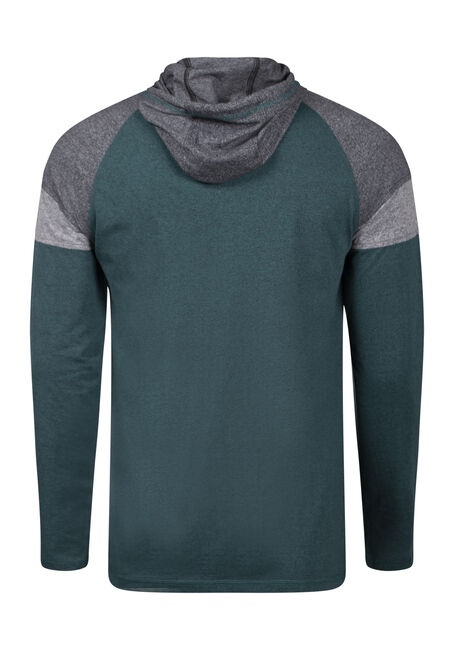 Men's Colour Block Hooded Tee, BLUEGRASS, hi-res