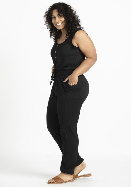Women's Jogger Jumpsuit, BLACK, hi-res