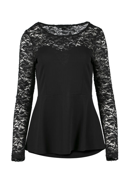 Ladies' Sweetheart Peplum Top, BLACK, hi-res