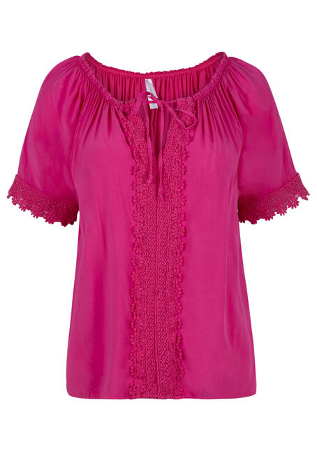 Ladies' Crochet Trim Peasant Top