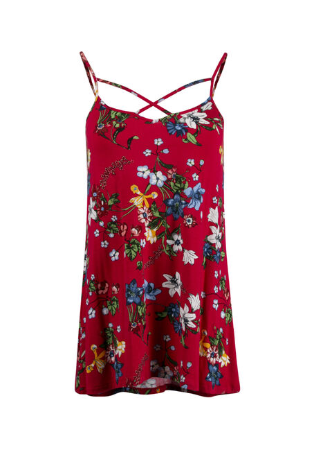 Women's Floral Cage Neck Tank