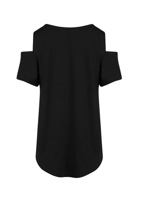 Ladies' Wild One Cold Shoulder Top, BLACK, hi-res