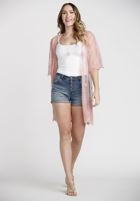 Women's Embroidered Mesh Kimono Duster, DUSTY PINK, hi-res