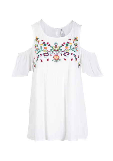 Women's Embroidered Cold Shoulder Top