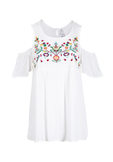 Women's Embroidered Cold Shoulder Top, WHITE, hi-res