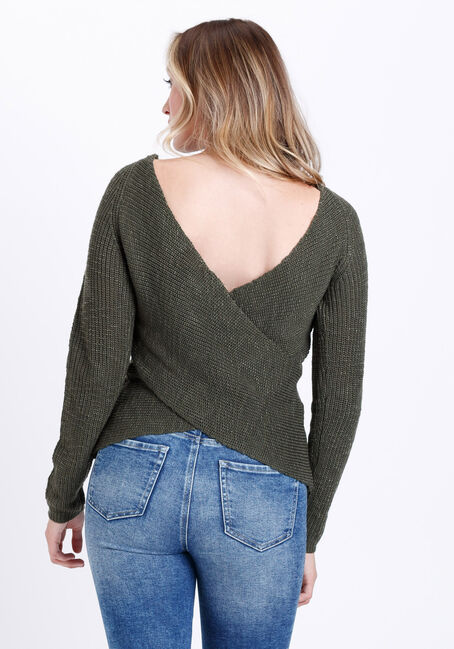 Women's Wrap Back Sweater, OLIVE NIGHT, hi-res