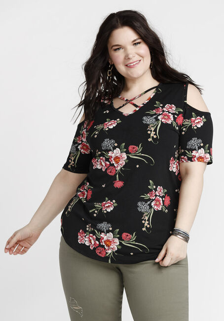 Women's Floral Cold Shoulder Top, BLACK, hi-res
