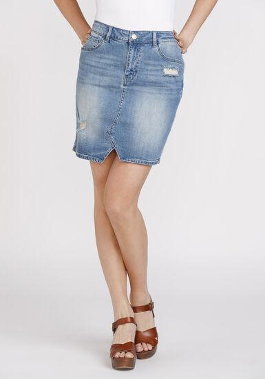 Women's Vintage Denim Skirt, DENIM, hi-res
