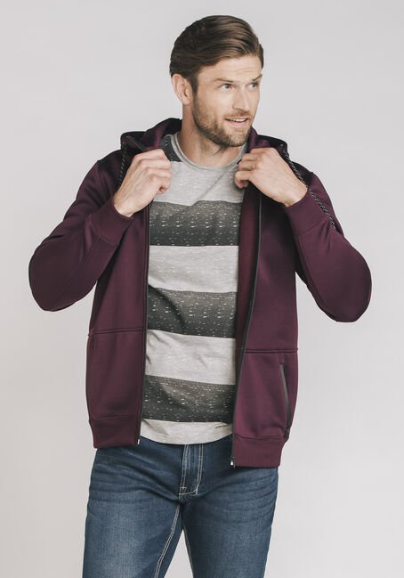 Men's Classic Zip Front Hoodie, PLUM WINE, hi-res