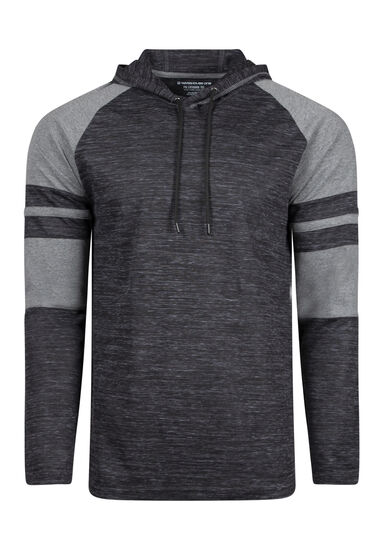 Men's Everyday Hooded Football Tee, Black, hi-res