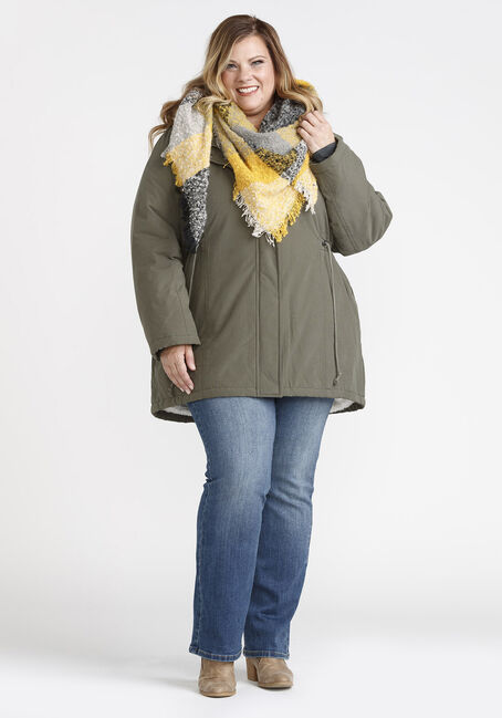 Women's Hooded Anorak Jacket, OLIVE, hi-res