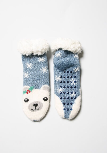 Women's Festive Slipper Socks, BLUE, hi-res