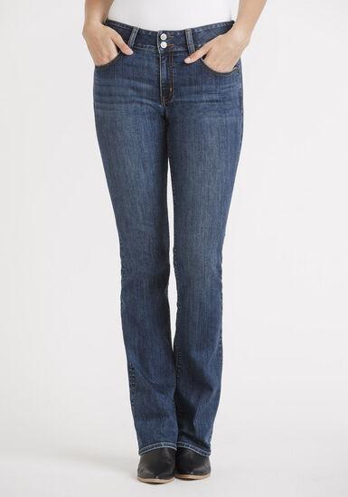 Women's 2 Button Dark Baby Boot Jeans, DARK WASH, hi-res