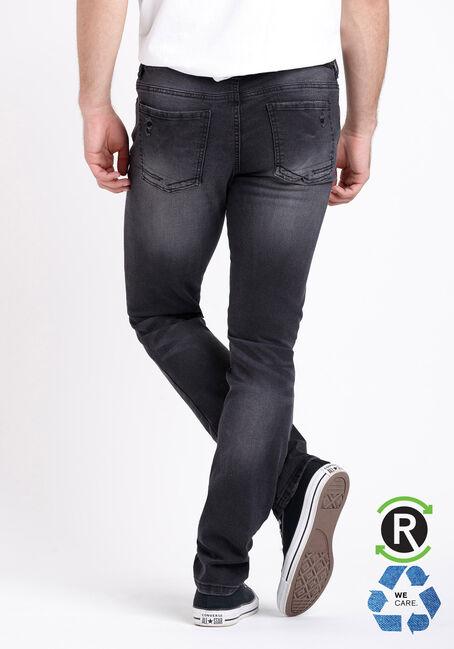 Men's Destroyed Washed Skinny Jeans, BLACK, hi-res