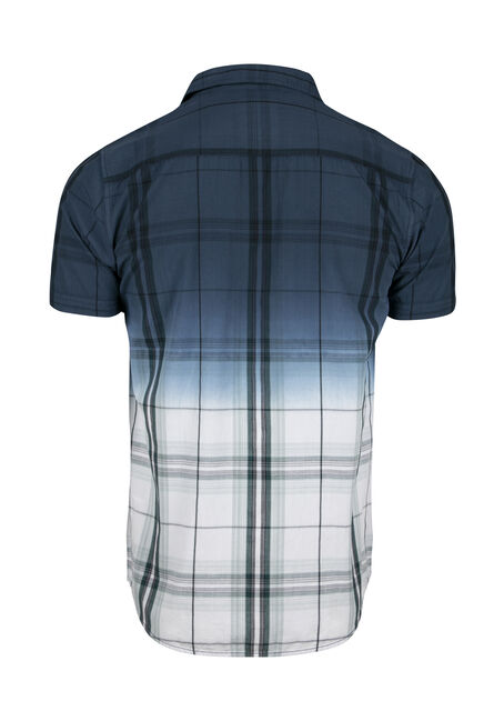 Men's Plaid Dip Dye Shirt, NAVY, hi-res