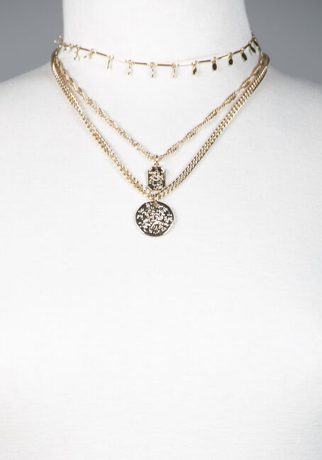 Women's Multi Layered Necklace, GOLD, hi-res