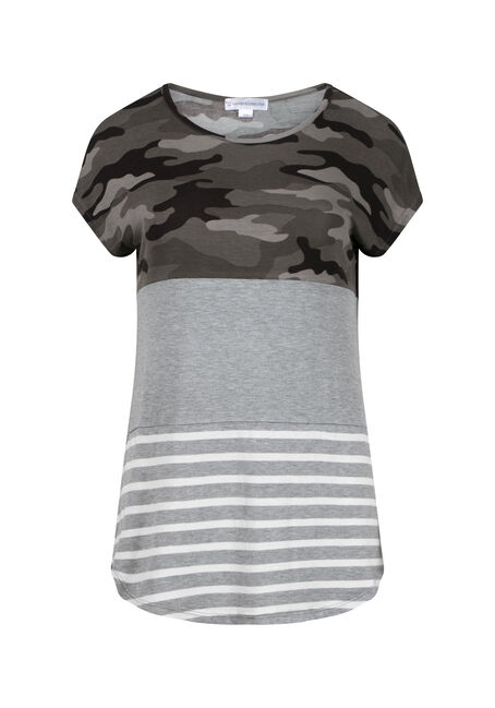 Women's Camo Stripe Colour Block Top