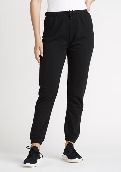 Women's Solid High Rise Jogger, BLACK, hi-res