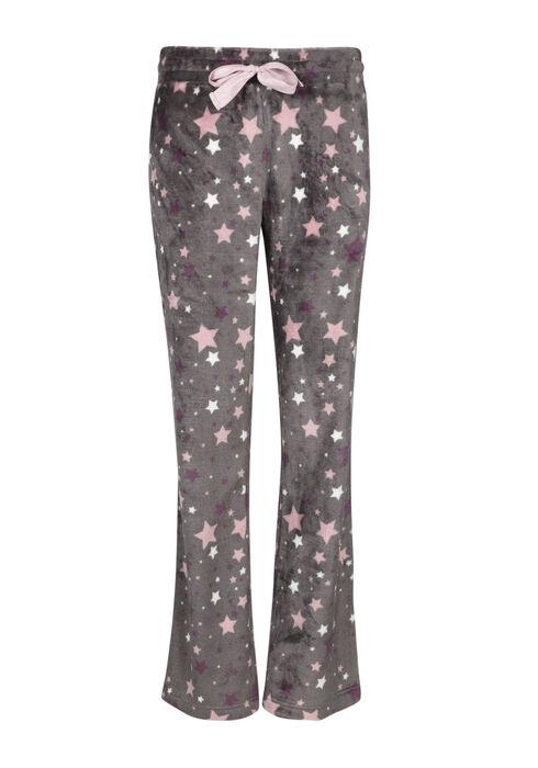 Women's Star Plush Sleep Pant, BLACK, hi-res
